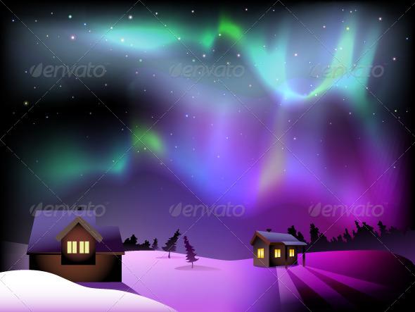GraphicRiver Aurora Borealis and Houses on Christmas Eve 6307978