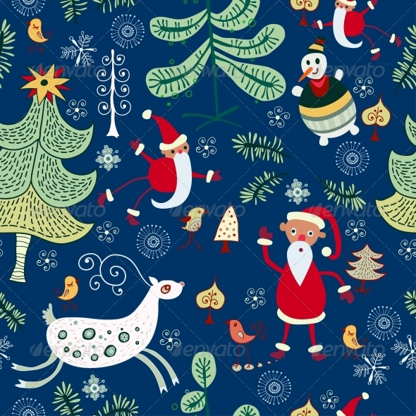 GraphicRiver Christmas Texture with Santa and Deer 6308961