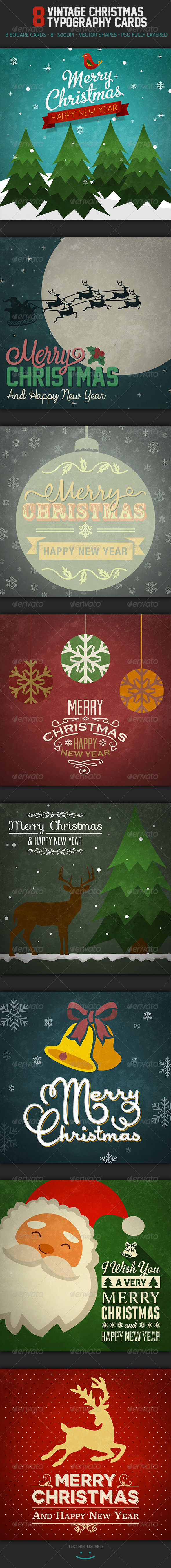GraphicRiver Vintage Christmas Typography Cards 6309023