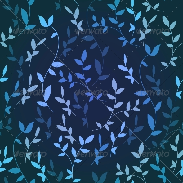 Blue Seamless Background Maple Leaves