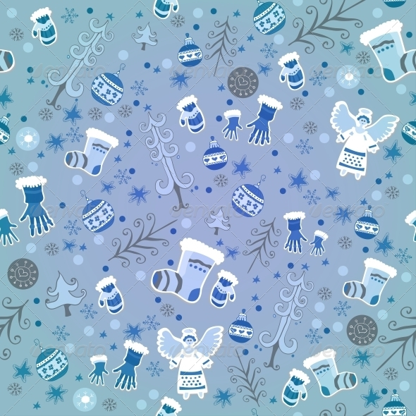 GraphicRiver Blue Winter Pattern with Angels and Gloves 6309542