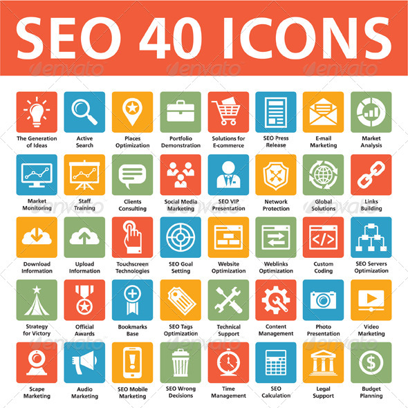 GraphicRiver SEO 40 Icons Search Engine Optimization 6310129