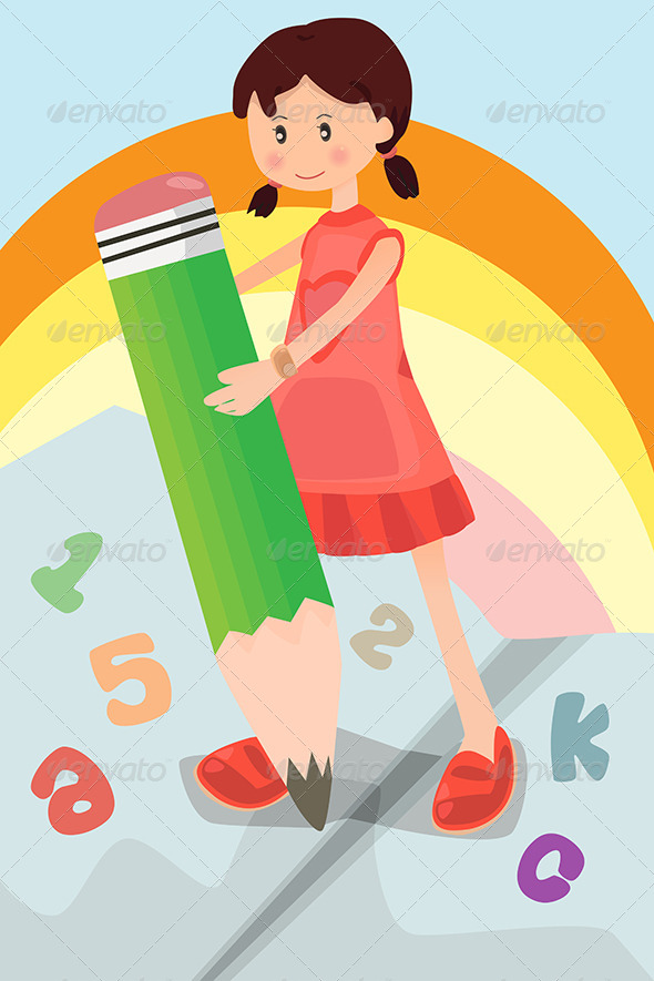 GraphicRiver School Girl with Pencil 6310162
