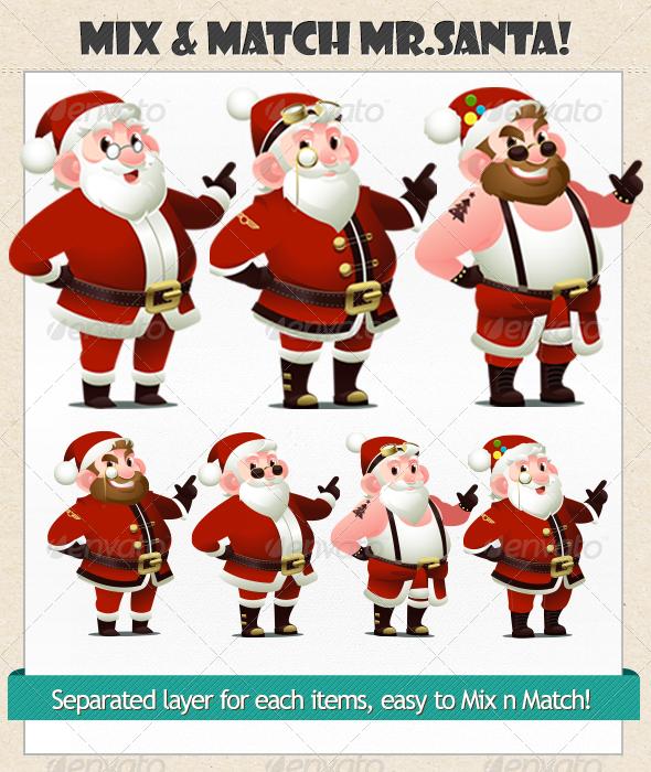 GraphicRiver Mr Santa Mix&Match 6310272