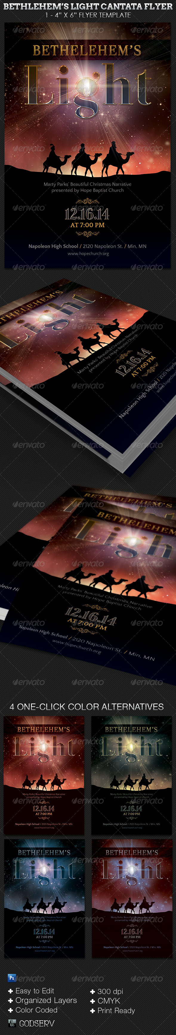 Bethlehem's Light Cantata Flyer Template  - Church Flyers