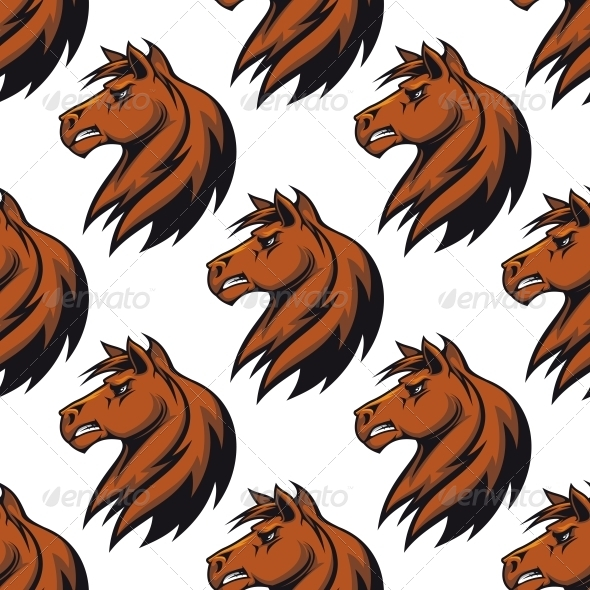 GraphicRiver Seamless Pattern with Majestic Stallion 6311011