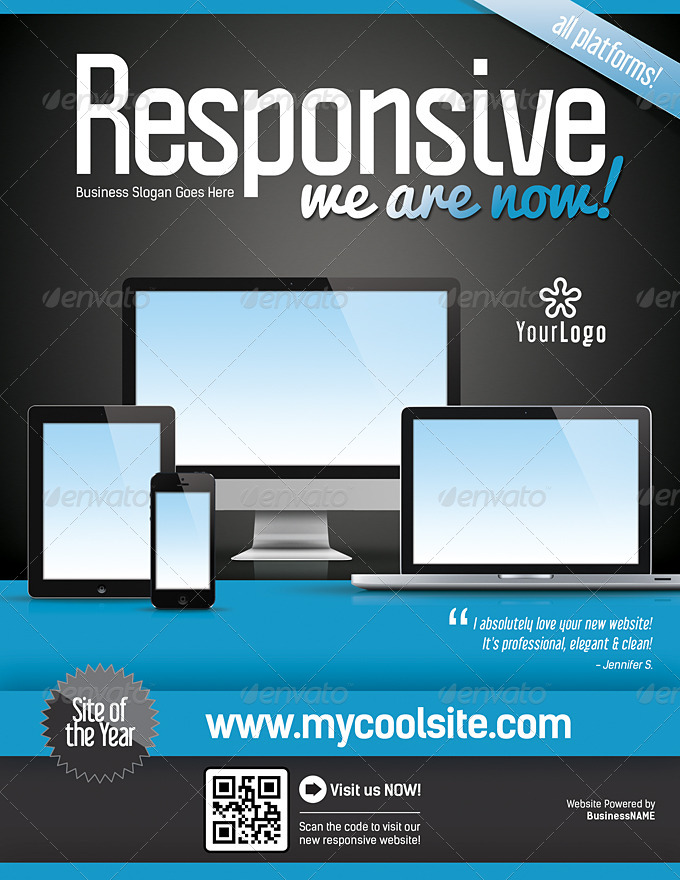 Website Responsive Flyers Template 4 by LevelStudio – Web Flyer Template