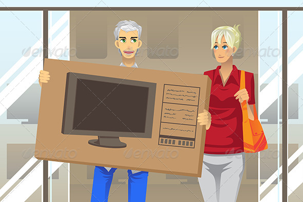 GraphicRiver Couple Buying TV 6311194
