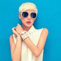 fashion portrait of sensual stylish girl on a blue background - PhotoDune Item for Sale