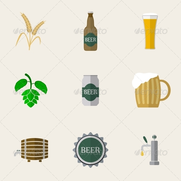 GraphicRiver Beer Flat Icons 6311206