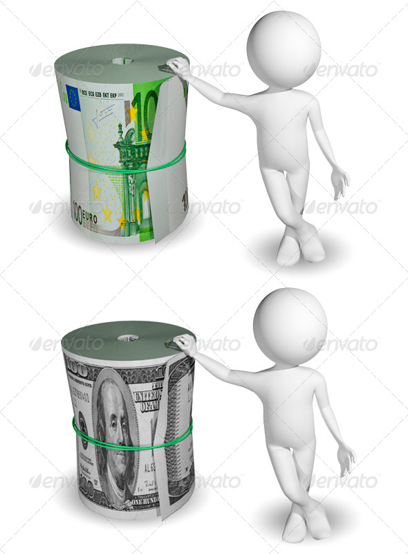 GraphicRiver Man and A Roll of Dollars and Euros 6311306