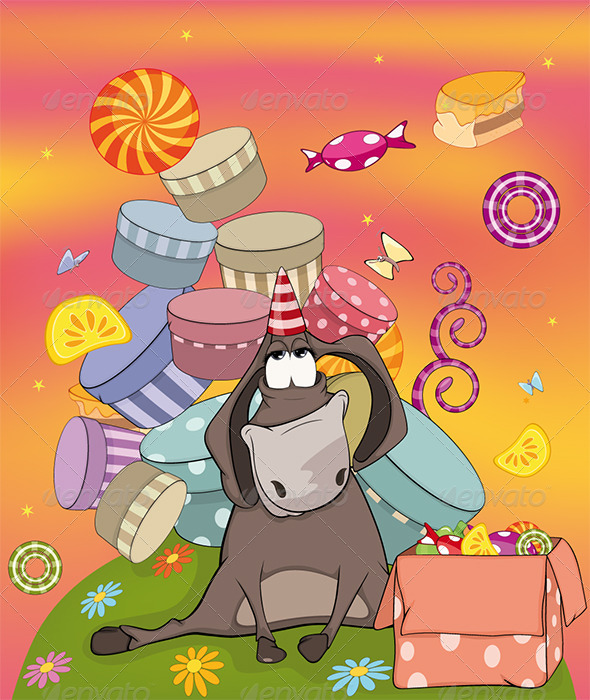 GraphicRiver Donkey Birthday Cartoon 6312292
