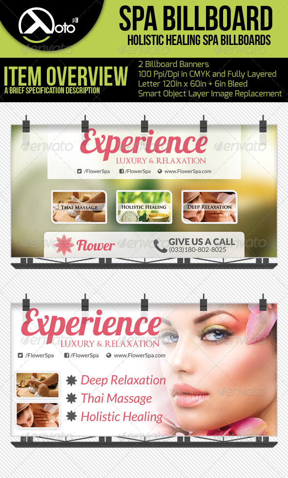 GraphicRiver Flower Holistic Healing Spa Billboards 6313005