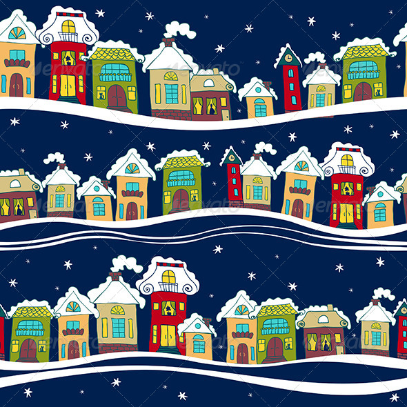 GraphicRiver Seamless Pattern with Houses in Winter Time 6313017