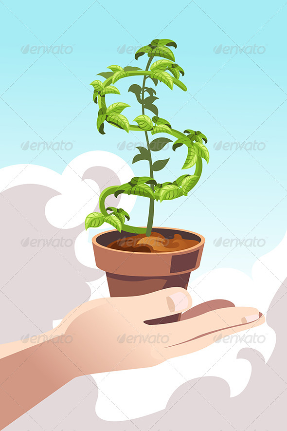 GraphicRiver Hand Holding a Money Dollar Tree 6313339