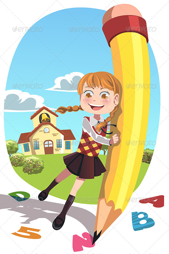 GraphicRiver School Girl with Pencil 6313340