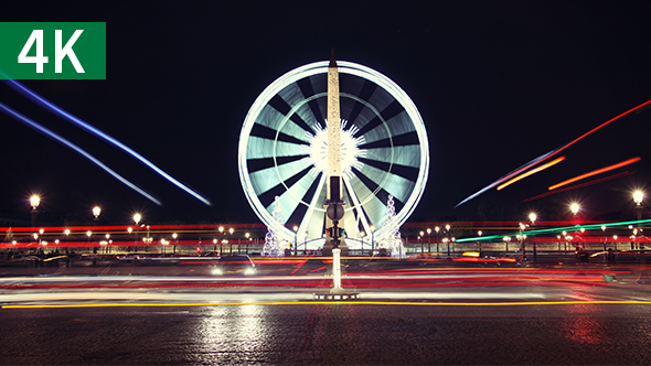 Paris Ferris Wheel Timelapse 4K