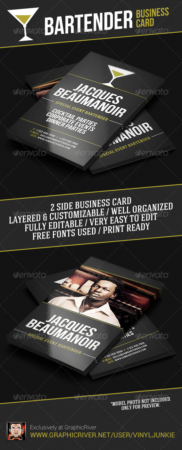 Bartender Business Card - Industry Specific Business Cards