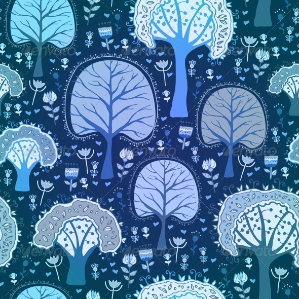 GraphicRiver Blue Winter Forest Seamless Pattern 6314329