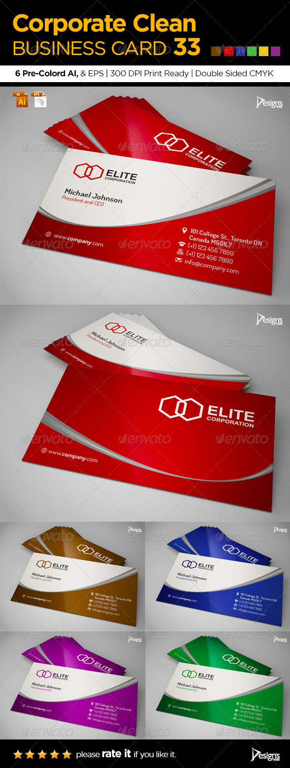 GraphicRiver Corporate Clean Business Card 33 6314396
