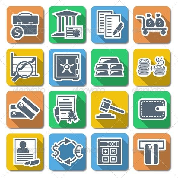 GraphicRiver Vector Bank Flat Icons 6314457