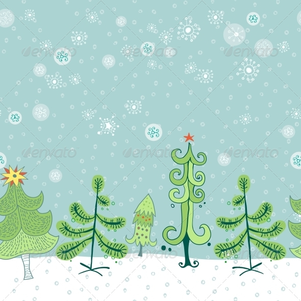 Winter Border With Christmas Trees Graphicriver