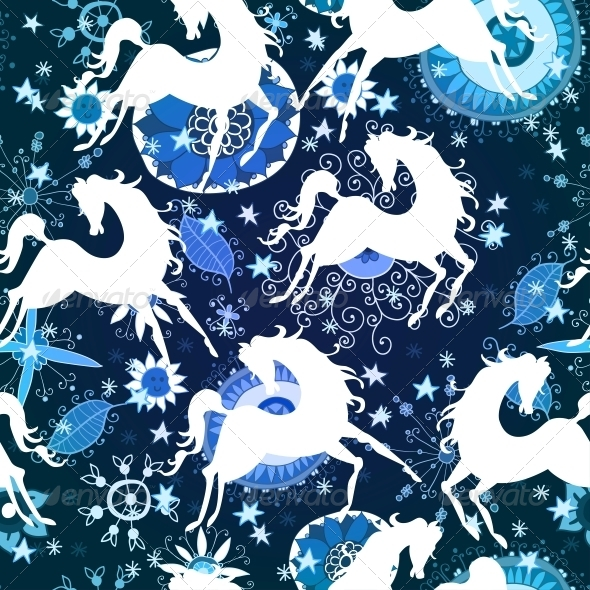 GraphicRiver Blue Pattern with Horses 6314517