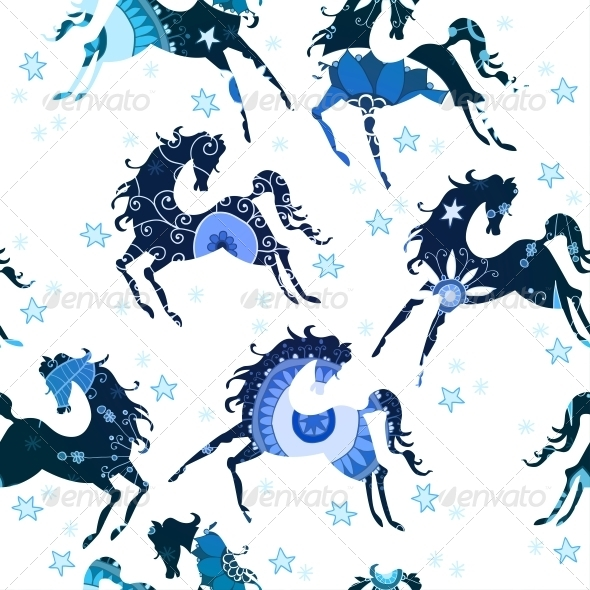 GraphicRiver Seamless Pattern with Blue Horses 6314572
