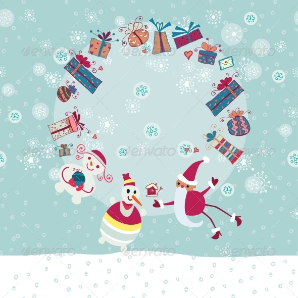 GraphicRiver Christmas Circle from Gift Boxes and Santa 6314873