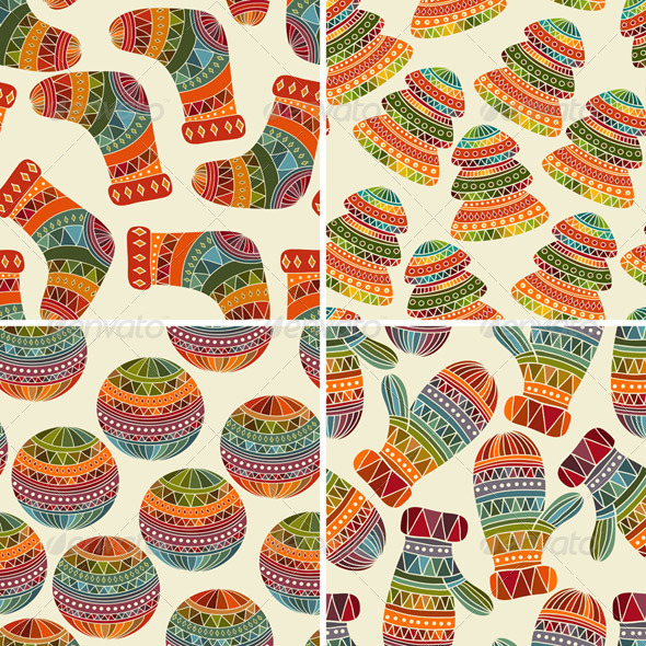 GraphicRiver Vector Seamless Winter Christmas Patterns 6315111