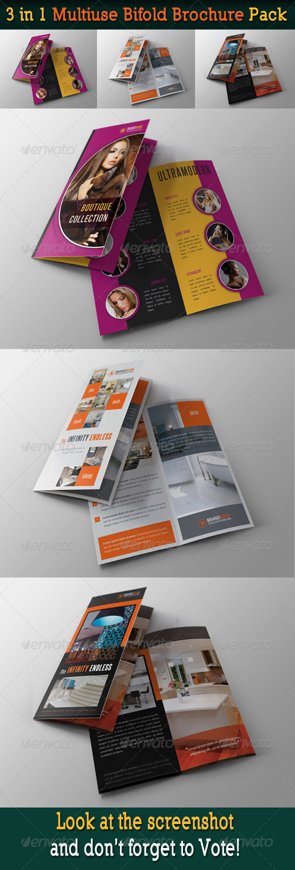 GraphicRiver 3 in 1 Multiuse Bifold Brochure Pack 6315308