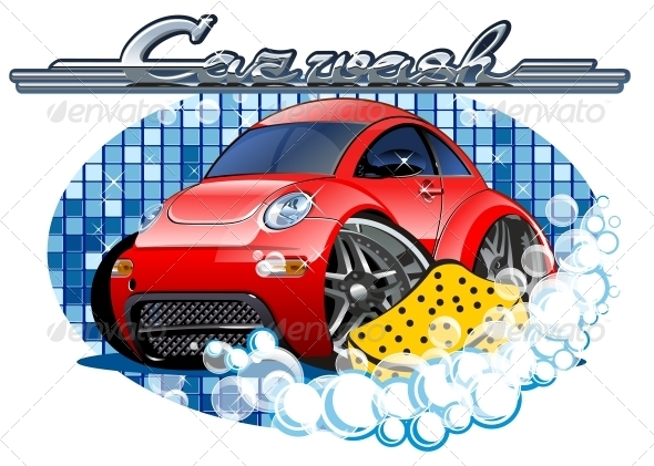 GraphicRiver Car Washing Sign with Sponge 6315312