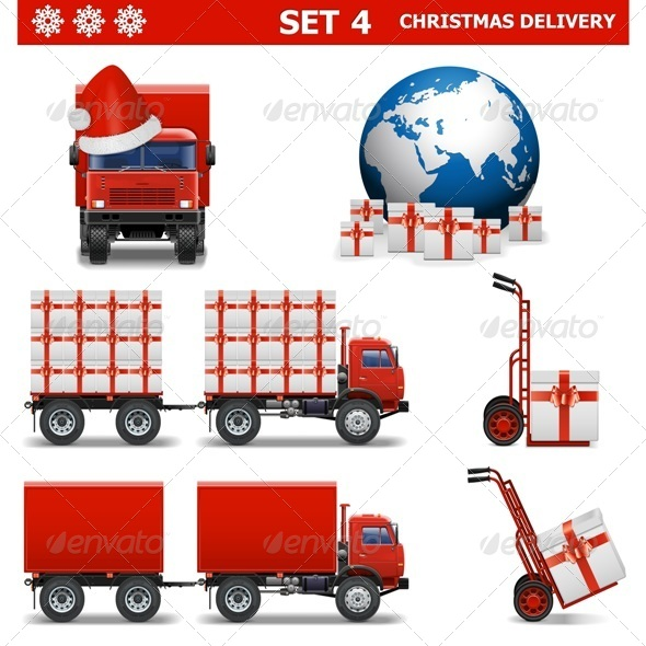 GraphicRiver Vector Christmas Delivery Set 4 6315316