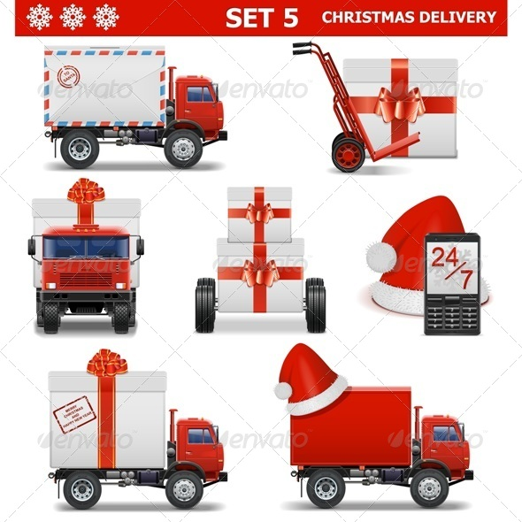 GraphicRiver Vector Christmas Delivery Set 5 6315363