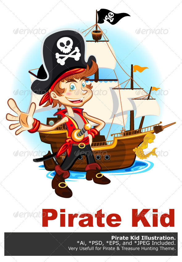GraphicRiver Pirate Kid and His Big War Ship 6315395