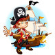 Pirate Kid and His Big War Ship - GraphicRiver Item for Sale