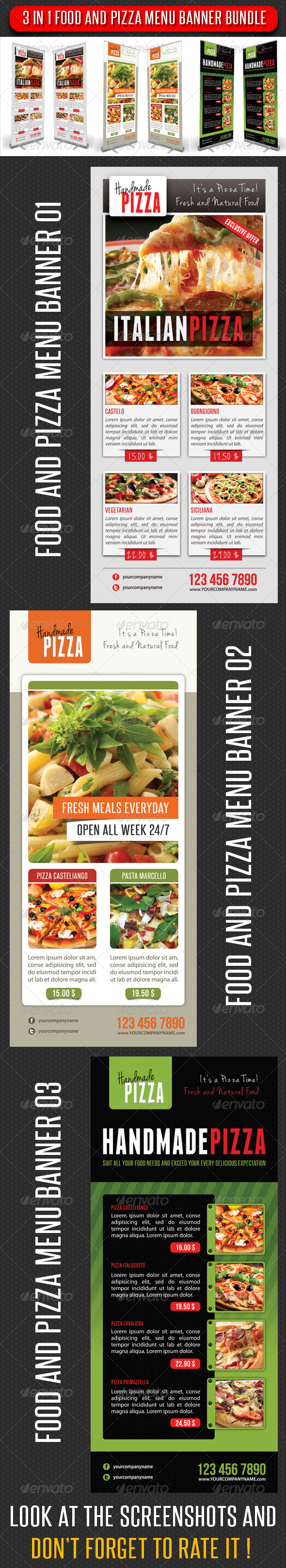 GraphicRiver 3 in 1 Food And Pizza Menu Banner Bundle 02 6315580