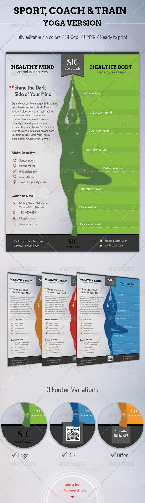 GraphicRiver Sport Coach and Train Flyer Yoga Version 6316683