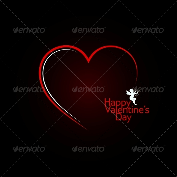GraphicRiver Valentines Day Red Heart Angel Background 6316925