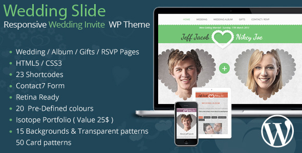 Wedding Slide Responsive Wedding Invite WordPress  - Wedding WordPress