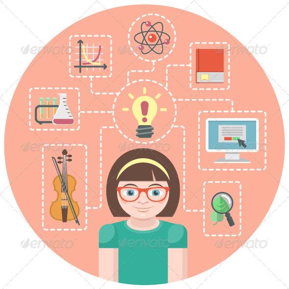 GraphicRiver Genius Girl Concept 6317058