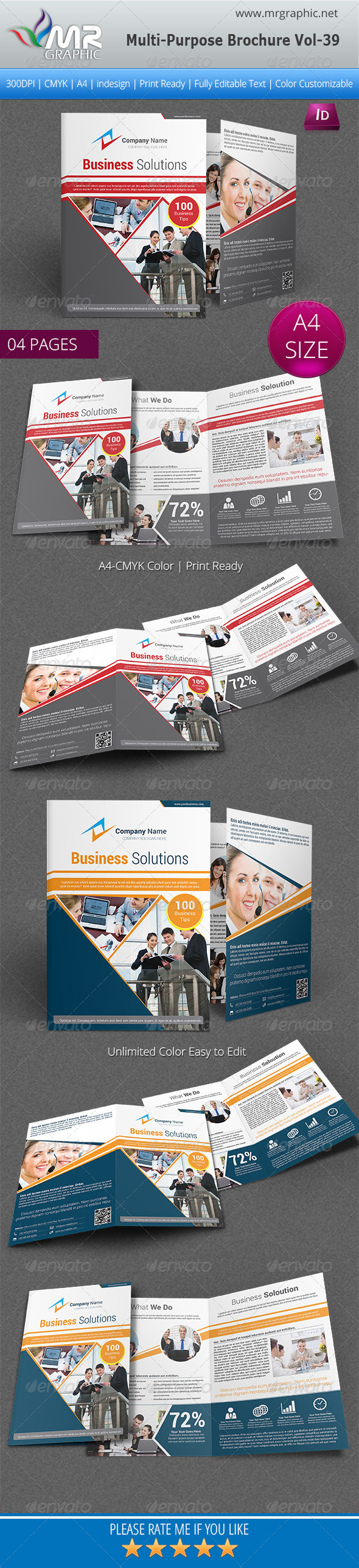 Multipurpose Bifold Brochure Template Vol-39
