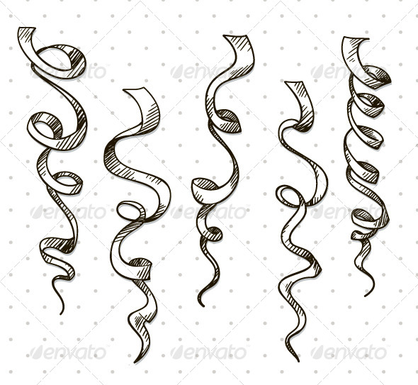 GraphicRiver Party Serpentine Ribbons Celebration 6317132