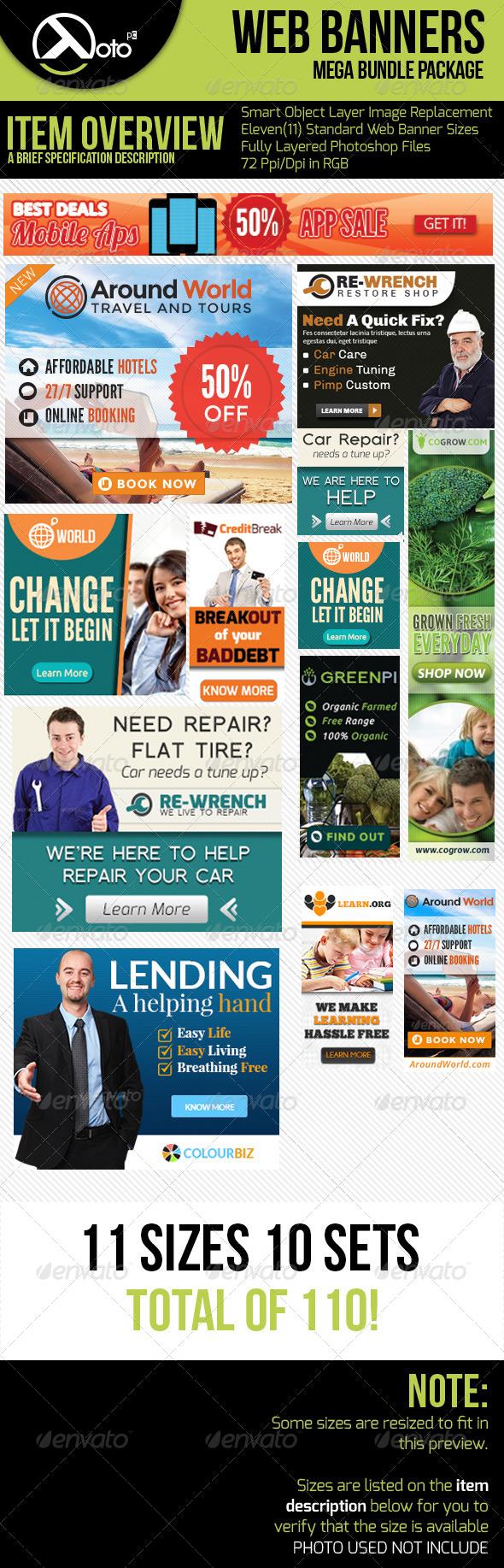 10 Set Mega Bundle Mix Web Banners - Banners & Ads Web Elements