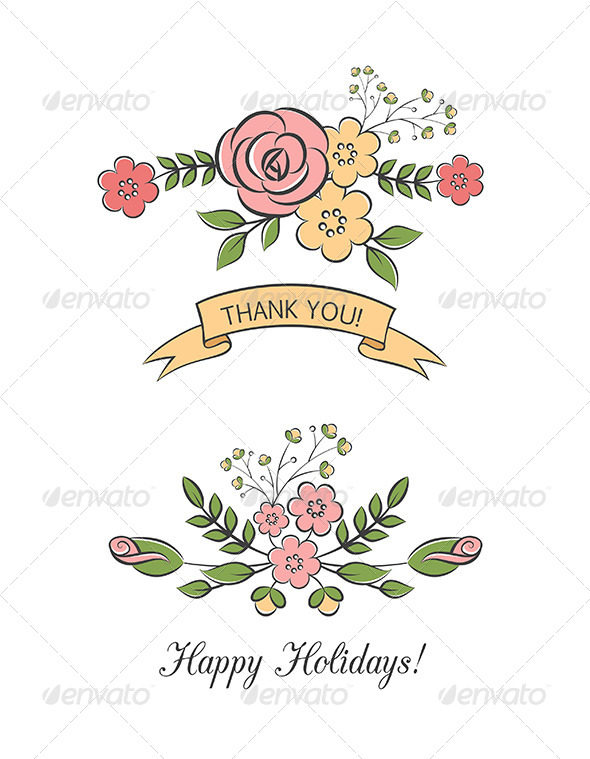 GraphicRiver Floral Bouquets With Ribbon 6317158