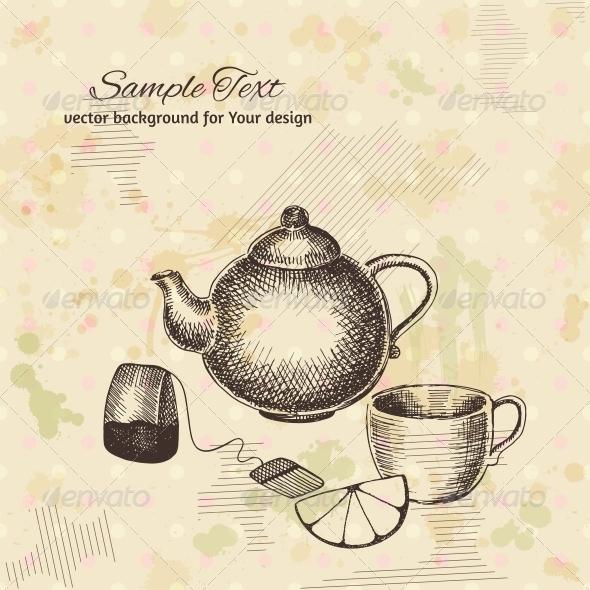 GraphicRiver Artistic Hand Drawn Tea Set 6317216