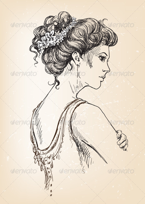 GraphicRiver Girl Bride Bridal Hair 6317528