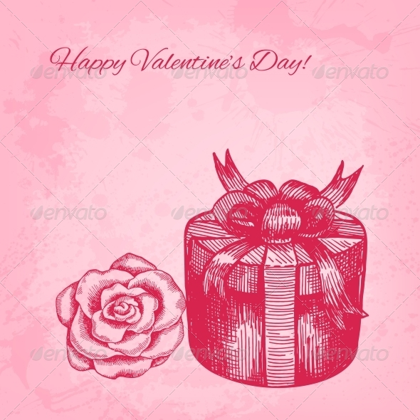 GraphicRiver Artistic Vector Valentine Background with Ink Style 6317532
