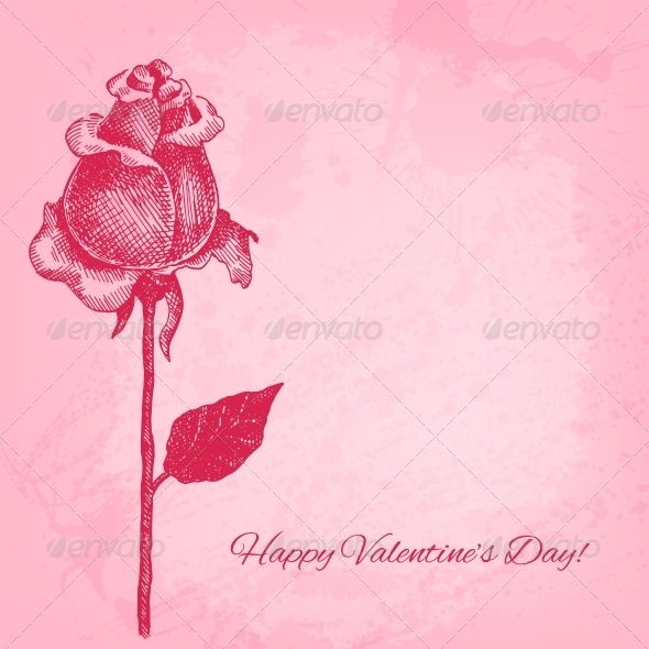 GraphicRiver Hand Drawn Rose Vector Valentine Background 6317551