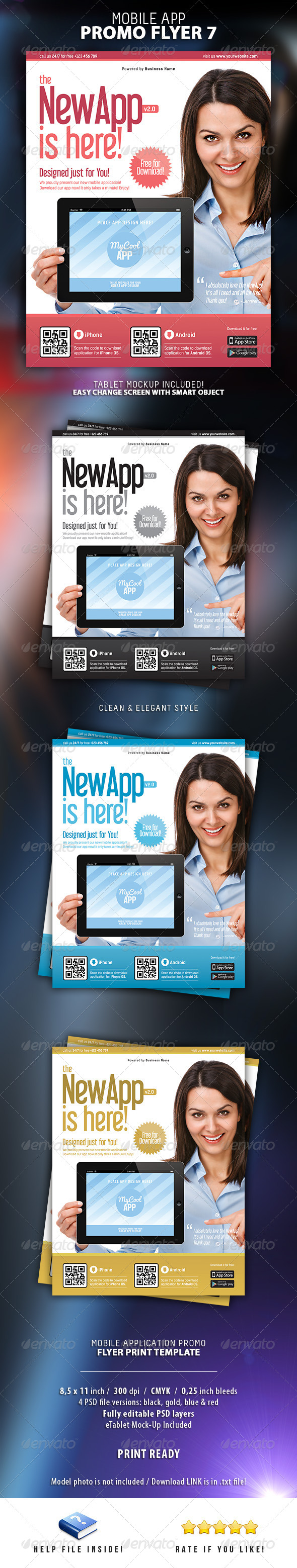 Mobile App Flyer Print Template 7 - Flyers Print Templates